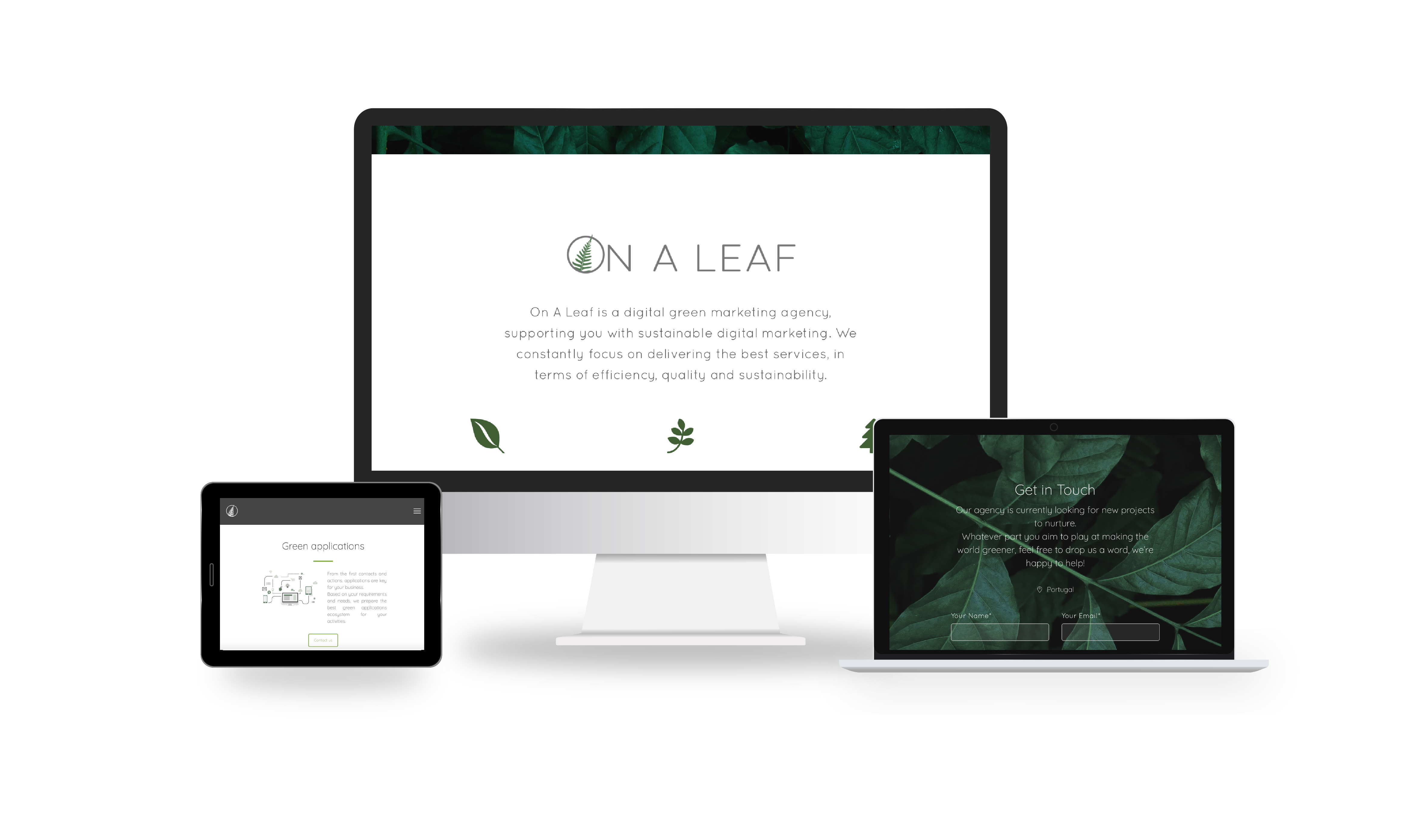 On A Leaf website screenshots - © Claire Gapais - Entrepreneur & digital green marketing consultant